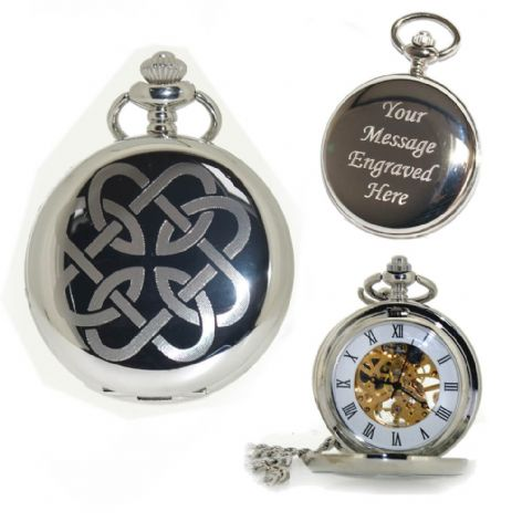 Celtic Father Daughter Knot Mechanical Pocket Watch